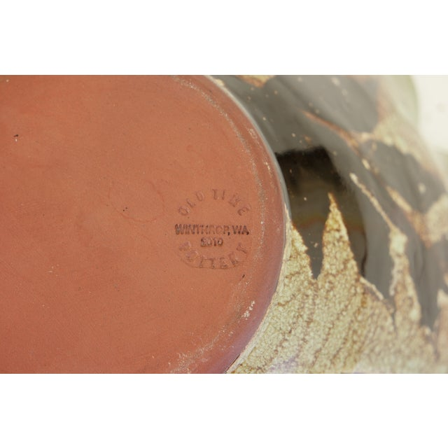 Tan Large Hand Made Glazed Ceramic Decorative Bowl For Sale - Image 8 of 10