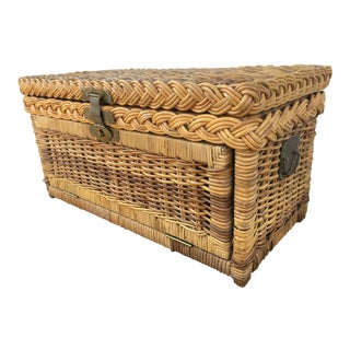 1970s Asian Style Braided Rattan Trunk For Sale