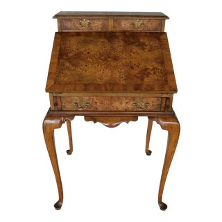 "Weiman Georgian Queen Anne Style Walnut Slant Front Writing Desk 41""h X 26""w For Sale"