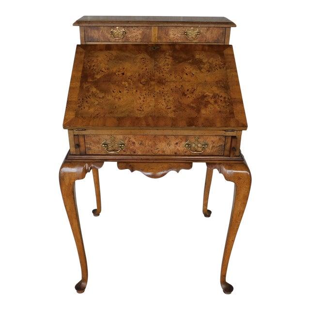 "Weiman Georgian Queen Anne Style Walnut Slant Front Writing Desk 41""h X 26""w For Sale"