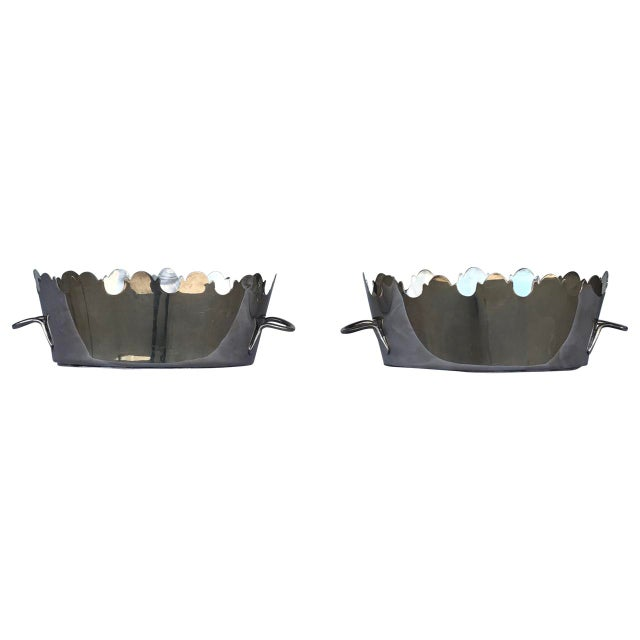 Mid 20th Century Silver Plate Monteith Baskets - a Pair For Sale - Image 5 of 5