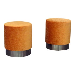 Mid-Century Modern Springer Style Orange Upholstered Footstools - a Pair For Sale