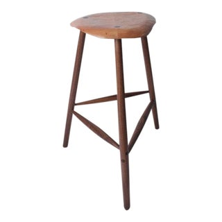 Contemporary Bespoke Mid Century Modern Style Wood Stool by Third Life Designs For Sale