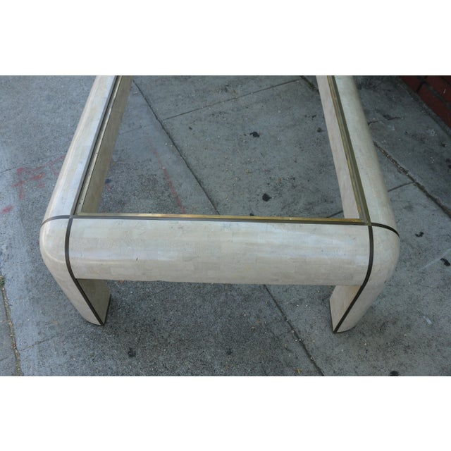 Tan 1980s Hollywood Regency Maitland Smith Coffee Table For Sale - Image 8 of 9
