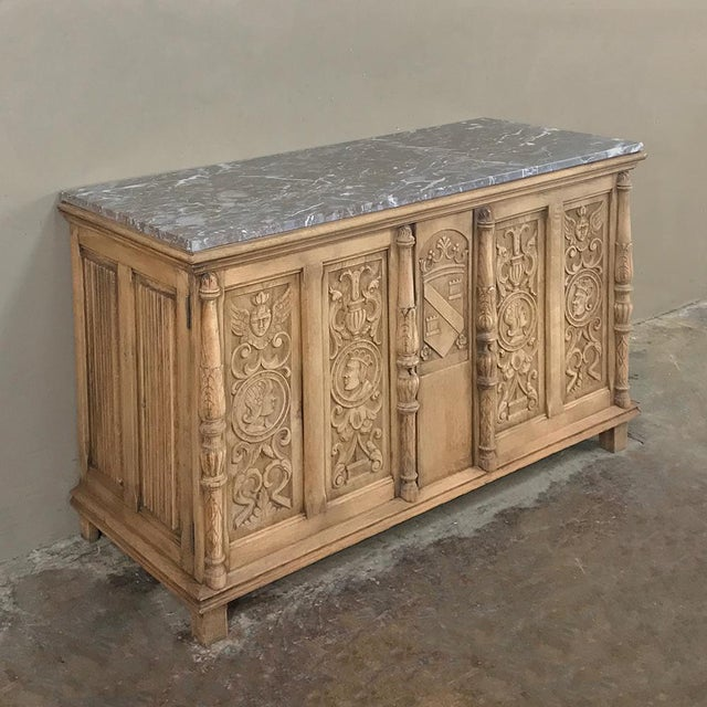 19th Century Stripped Renaissance Revival Low Buffet With Marble Top For Sale - Image 4 of 13
