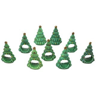 1980's Ceramic Christmas Tree Napkin Rings and Salt & Pepper Shaker Set - Set of 9 For Sale