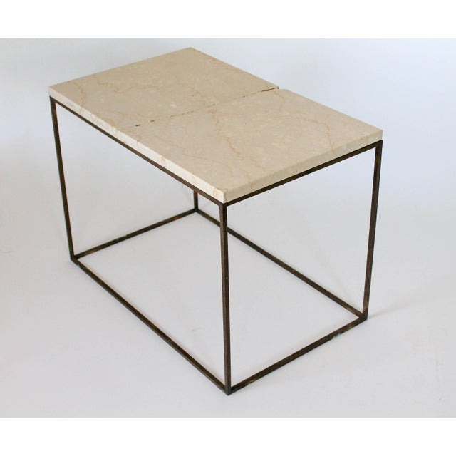 Rectangular Brass & Travertine Table For Sale In Milwaukee - Image 6 of 11