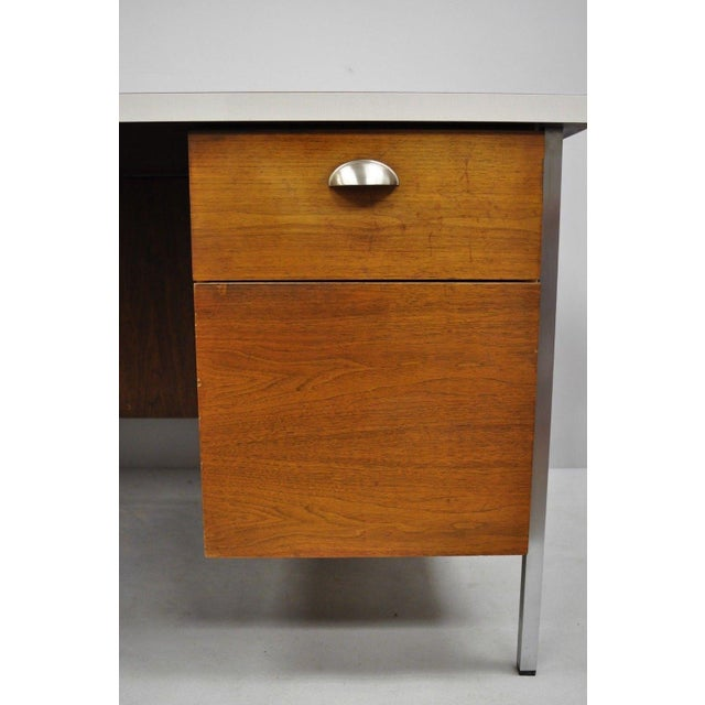 Metal Mid Century Modern Florence Knoll Walnut Executive Desk For Sale - Image 7 of 11