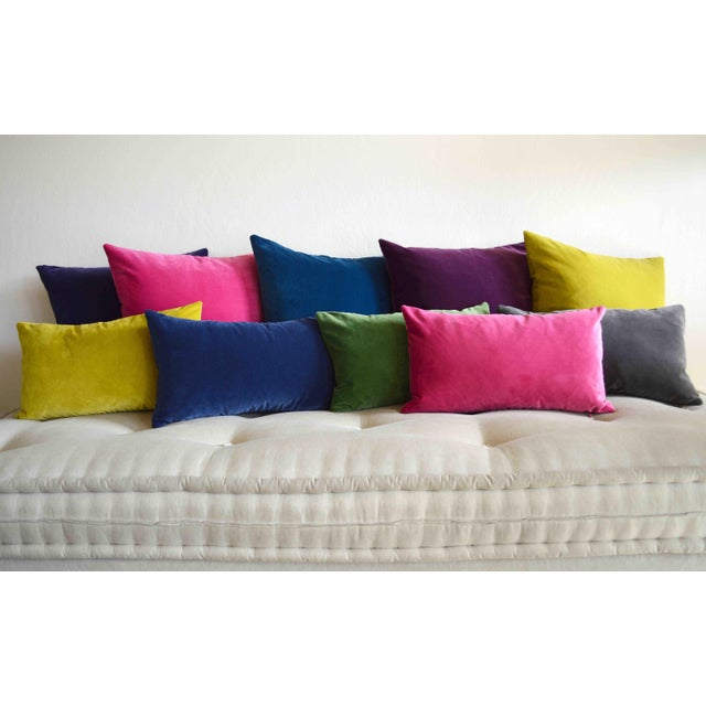 FirmaMenta Italian Solid Gray Velvet Lumbar Pillow For Sale - Image 4 of 6