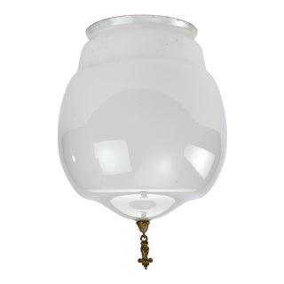Art Deco Milk Glass Globe for Pendant or Flush Mount Fixture For Sale