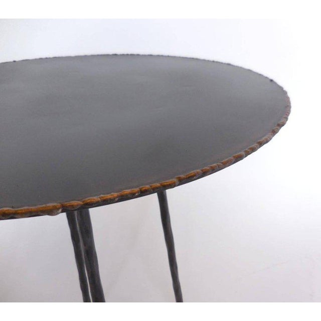 Industrial Pair of Custom Iron Tripod Tables With Bronze Edging For Sale - Image 3 of 7