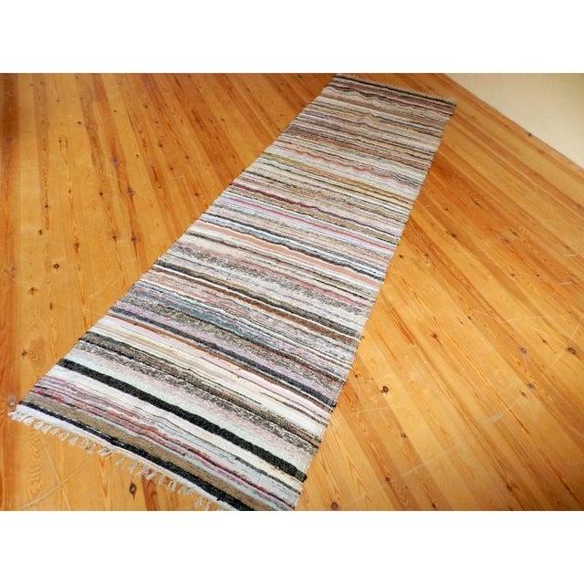 "Striped Turkish Rag Rug Runner- 10'3"" X 3'2"" - Image 8 of 10"