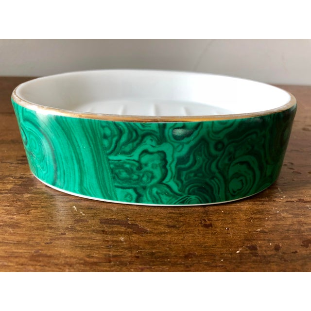 1980s Vintage Neiman Marcus Malachite Soap Dish For Sale - Image 5 of 5