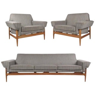 Mid-Century Johannes Andersen Sofa and Lounge Chairs for Trensum For Sale