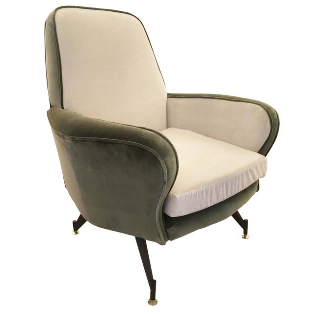 Pair of Italian Mid-Century lounge chairs attributed to Formanova. Upholstered in a green and off-white velvet. Legs are...