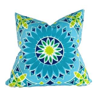 Soleil Pillow Cover in Aqua Blue For Sale