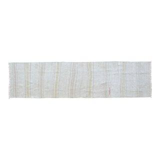 Hand Woven Minimal Runner Rug Pure Hemp Primitive Runner- 1′12″ X 7′10″ For Sale