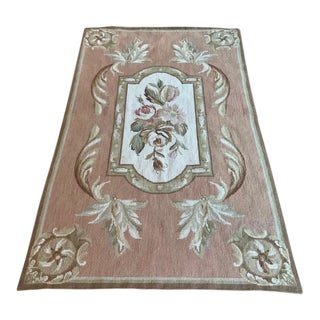 "Aubusson Needlepoint Rug Table Covering Wall Hanging Textile Art - 2'6"" X 4' For Sale"