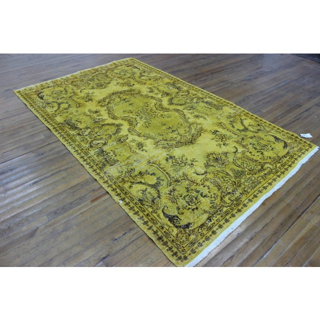 """Vintage Hand Woven Yellow OverDyed Rug - 5'7"""" x 9' For Sale In Atlanta - Image 6 of 7"""