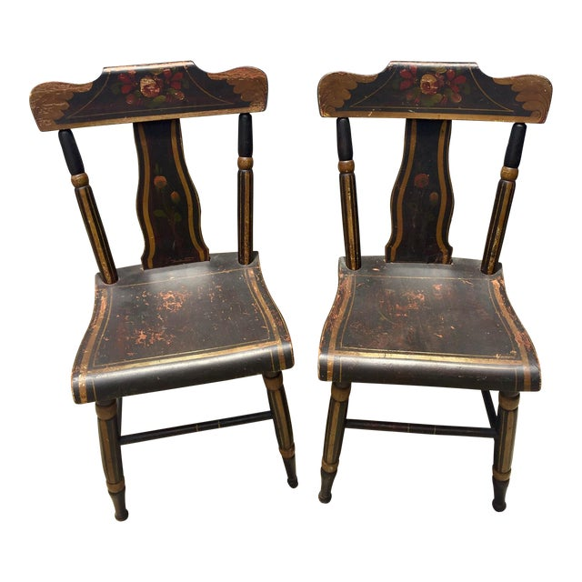 19th Century Hitchcock Style Painted Chairs - a Pair For Sale