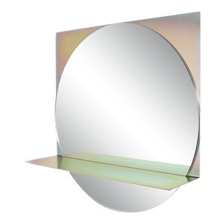 Starting Point Mirror in Yellow Zinc With Clear Mirror For Sale