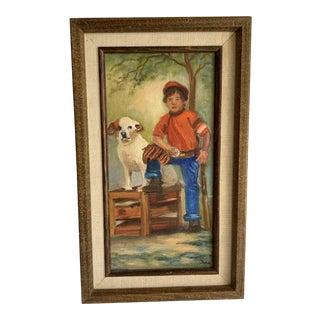 Vintage Americana Petite Painting Boy & Dog For Sale