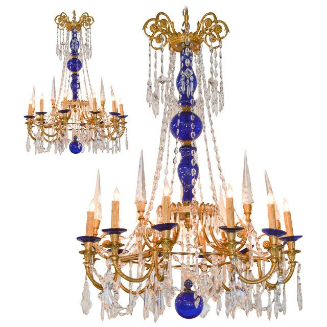 19th Century Pair of Russian Bronze, Crystal, and Cobalt Chandeliers For Sale - Image 9 of 9