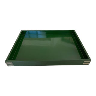 "Roe Kasian, ""British Racing Car Green"" Lacquer Tray - 1970's For Sale"