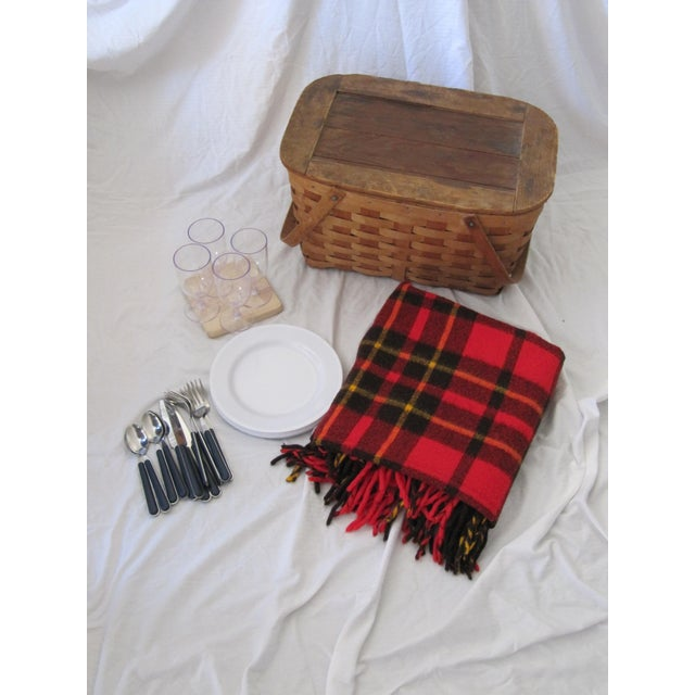 Yellow Vintage Picnic Basket Set With Wool Plaid Blanket For Sale - Image 8 of 9