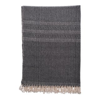 Herringbone Cotton Blanket in Black and White Size Large For Sale