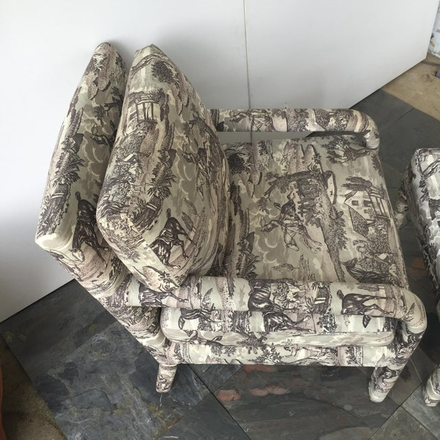 Vintage Toile Upholstered Chairs & Ottomans - A Pair - Image 3 of 6