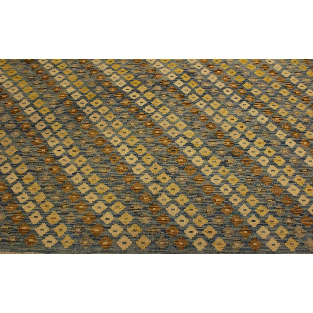 Shabby Chic Abstract Zorion Blue/Brown Hand-Woven Kilim Wool Rug -6'1 X 7'9 For Sale In New York - Image 6 of 8