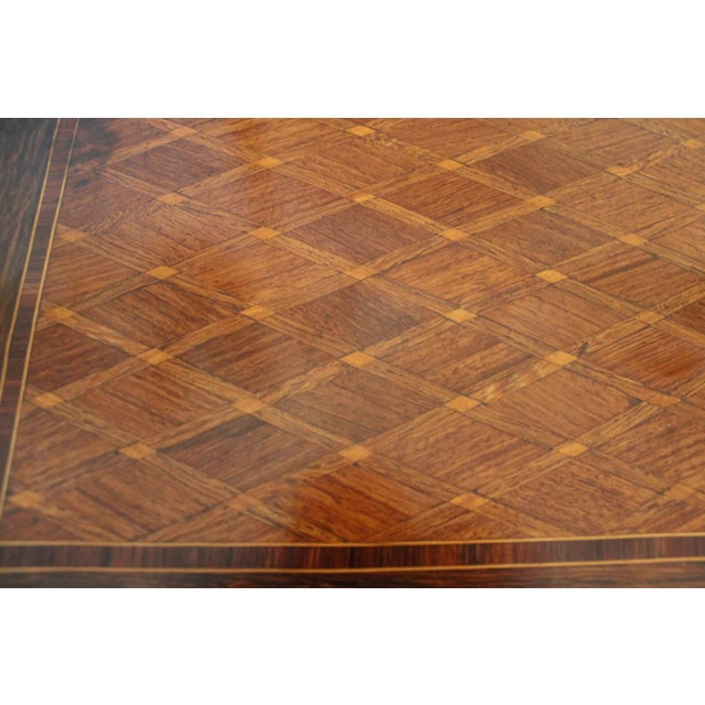 Metal French Transitional Parquetry Inlaid Writing Desk For Sale - Image 7 of 13