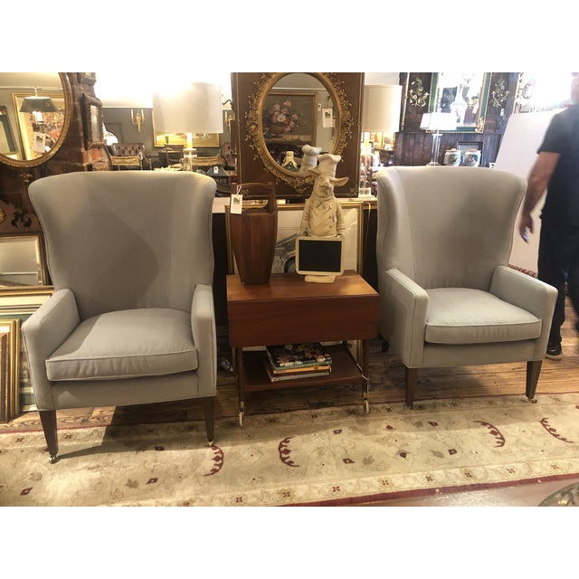 Traditional Flannel Upholstered Barrel Back Wing Chairs by Baker -A Pair For Sale - Image 3 of 13