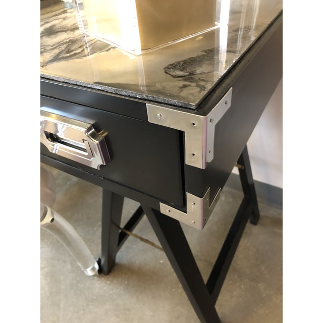 Mid Century Modern Lacquered Black Campaign Desk with Chrome and Brass Hardware - Image 9 of 10