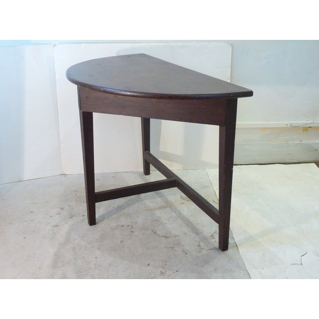 American Early American Faux-Grain Demi-Lune Console For Sale - Image 3 of 9