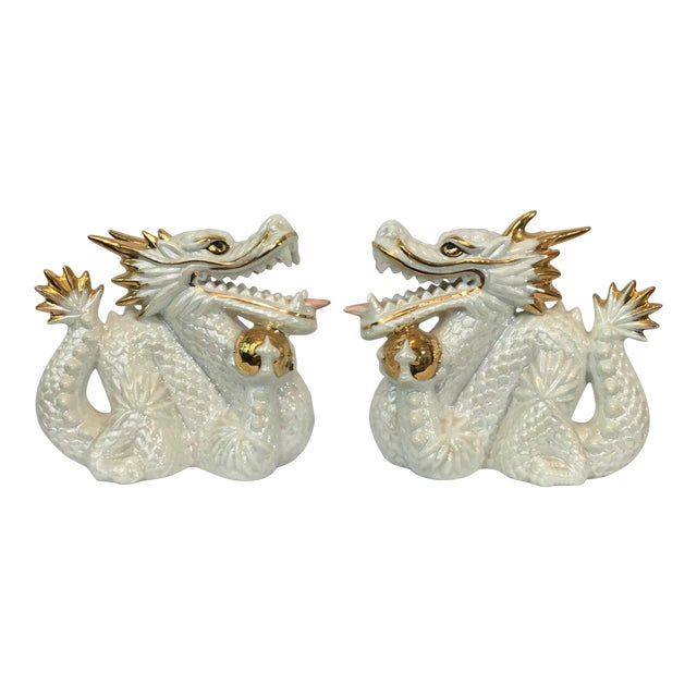 Ceramic White and Gold Dragons - Pair - Image 1 of 5