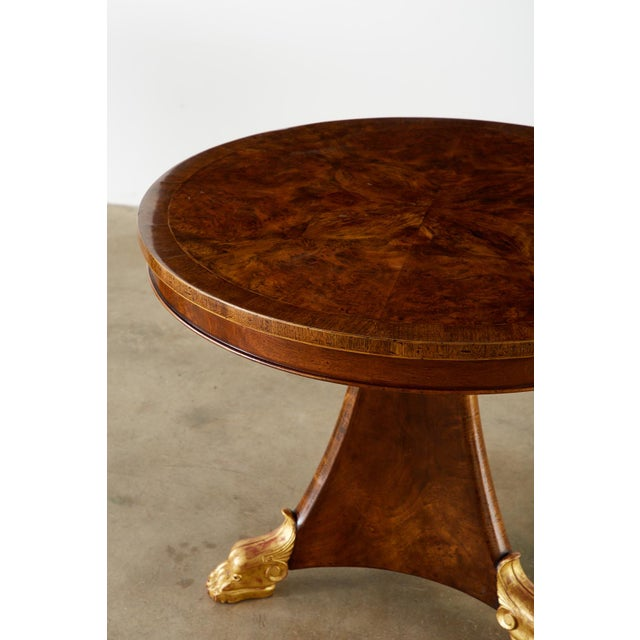 Pair of English Regency Style Burl Wood Library or Center Tables For Sale In San Francisco - Image 6 of 13