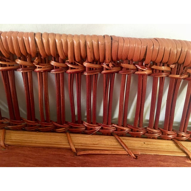 Brown Mid-Century Rattan & Wood Leather-Handled Serving Tray For Sale - Image 8 of 13