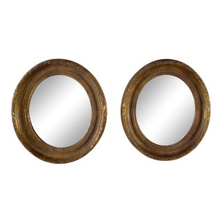 Near Pair 19th Century Carved Gilt Wood and Gesso Mirrors For Sale