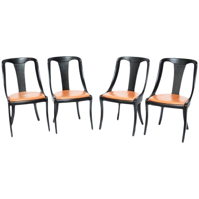 Set of Four Mid-Century Black Lacquer Dining Chairs - Image 1 of 10