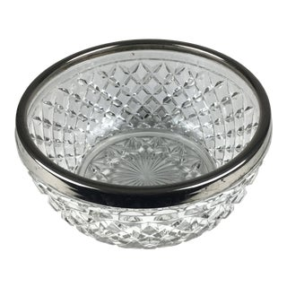 Vintage 1960s Cut Crystal Silver Plate Rim Bowl, Made in England For Sale
