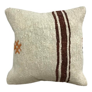 Vintage Natural Turkish Anatolian Handmade Hemp Kilim Pillow Cover For Sale