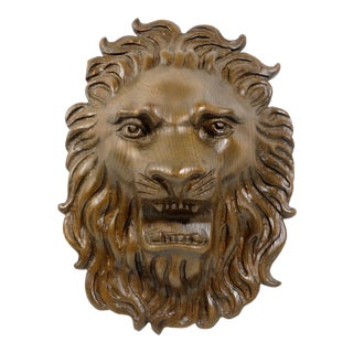 Hand Carved Oak Wood Lion Wall Sculpture For Sale