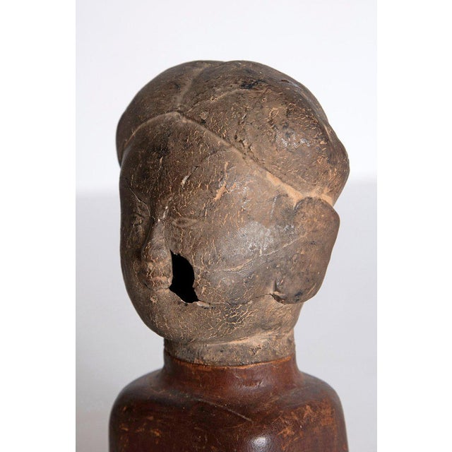 Brown Asian Antiquity Clay Head on Wood Base For Sale - Image 8 of 13