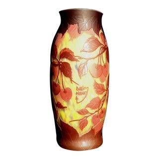 Antique Daum Nancy Cameo Glass Vase For Sale
