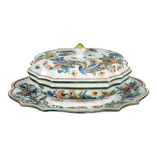 19th Century French Faience Tureen & Platter For Sale