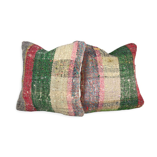 Scottish Style Plaid Weave Pillows - A Pair - Image 1 of 3