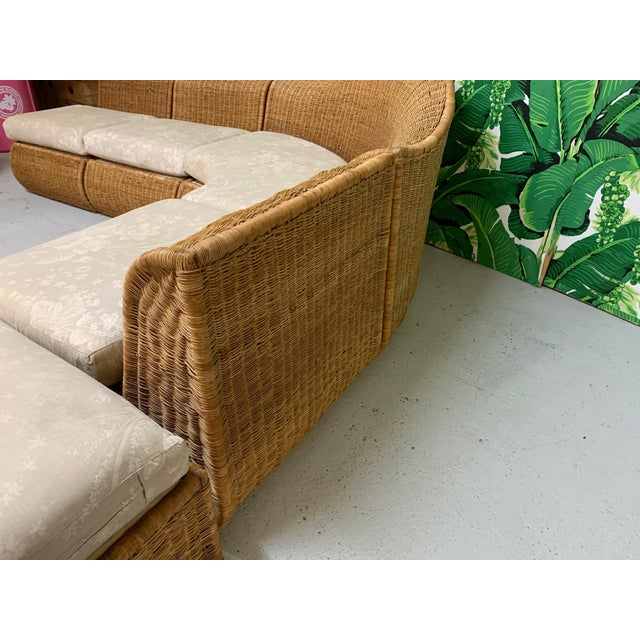Large Sculptural Wicker Sectional Sofa For Sale - Image 4 of 13