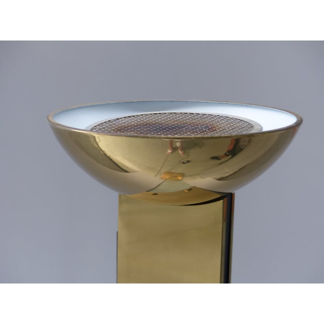 Italian Brass & Glass Mid-Century Torchiere Floor Lamp For Sale - Image 11 of 12